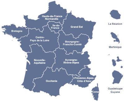 Carte des régions de l'EFS